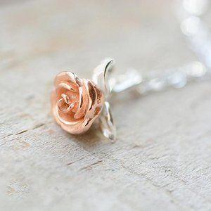 Rose Flower Necklace Rose Gold  Dainty Pendant